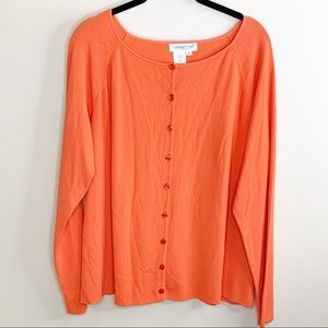 Coldwater Creek Orange Button-Up Cardigan Sweater